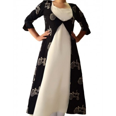 The First Spring Black & White Cambric Cotton Block Printed A-line Kurta