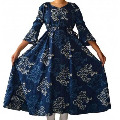 The First Spring Blue Cotton Block Printed Anarkali Kurta