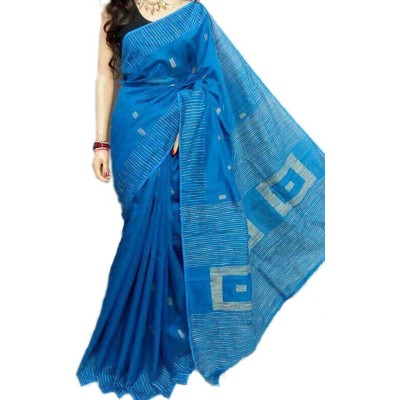 Debajit Blue Cotton Silk Gicha Bengal Tant Handloom Saree