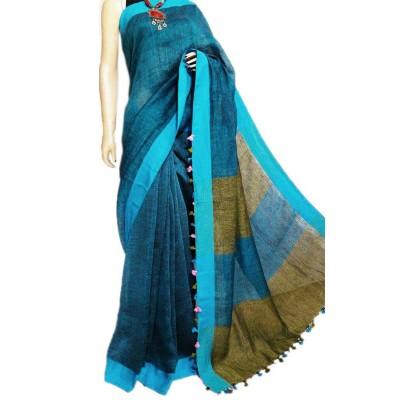 Debajit Deep Blue Khadi Tassels Bengal Tant Handloom Saree