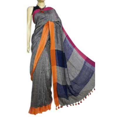 Debajit Grey Khadi Ganga-Jamuna bordered Bengal Tant Handloom Saree
