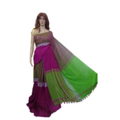 Debajit Magenta and Green Cotton Silk Modhyomoni Bengal Tant Handloom Saree
