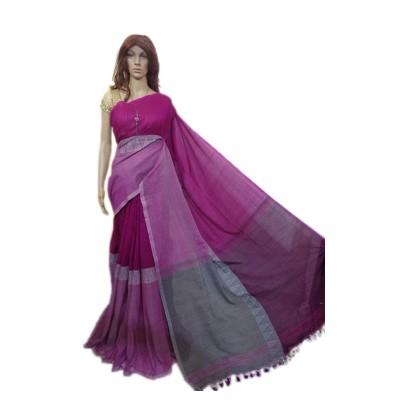 Debajit Magenta Cotton Silk Modhyomoni Bengal Tant Handloom Saree