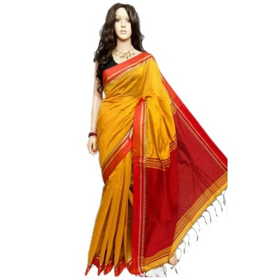 Debajit Yellow Cotton Silk Bengal Tant Handloom Saree