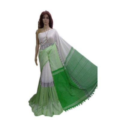 Debajit Green and White Cotton Silk Modhyomoni Bengal Tant Handloom Saree