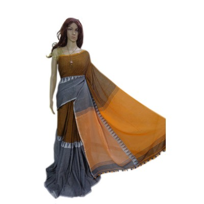 Debajit Orange Cotton Silk Modhyomoni Bengal Tant Handloom Saree
