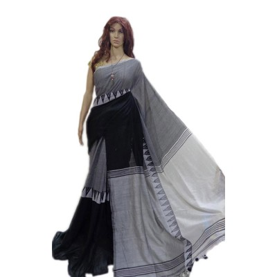 Debajit Grey Cotton Silk Modhyomoni Bengal Tant Handloom Saree