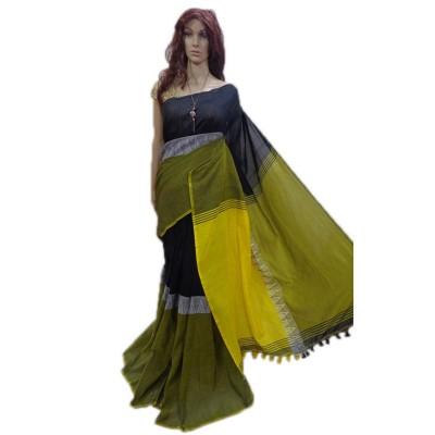 Debajit Mustard Cotton Silk Modhyomoni Bengal Tant Handloom Saree