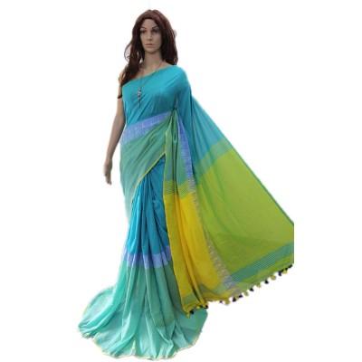 Debajit Sky Blue Cotton Silk Modhyomoni Bengal Tant Handloom Saree