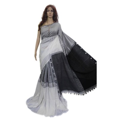 Debajit Black & White Cotton Silk Modhyomoni Bengal Tant Handloom Saree