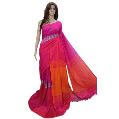 Debajit Pink Cotton Silk Bengal Tant Handloom Saree