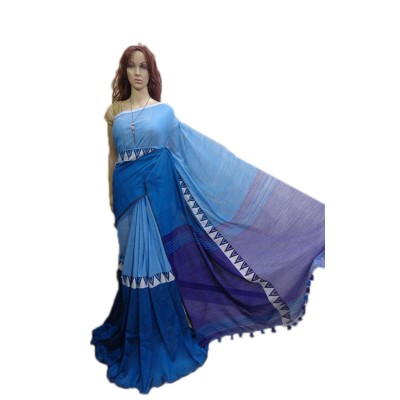 Debajit Blue Cotton Silk Modhyomoni Bengal Tant Handloom Saree