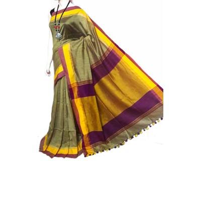 Debajit Beige Cotton Silk Tassels Bengal Tant Handloom Saree