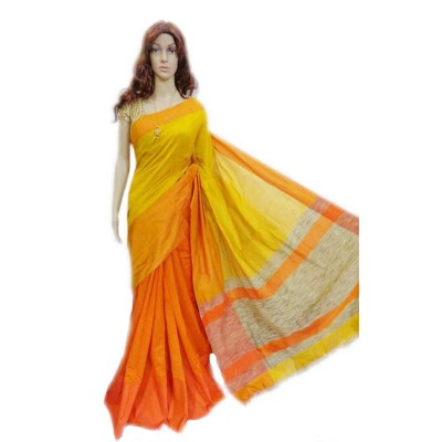 Debajit Orange Cotton Silk Bengal Tant Handloom Saree