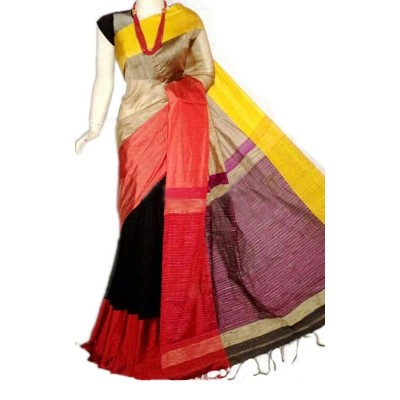 Debajit Multi Colour Cotton Silk Ganga-Jamuna bordered Bengal Tant Handloom Saree