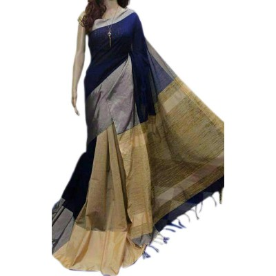 Debajit Navy Blue Cotton Silk Bengal Tant Handloom Saree