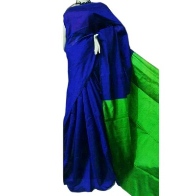 Debajit Royal blue Cotton Silk Bengal Tant Handloom Saree