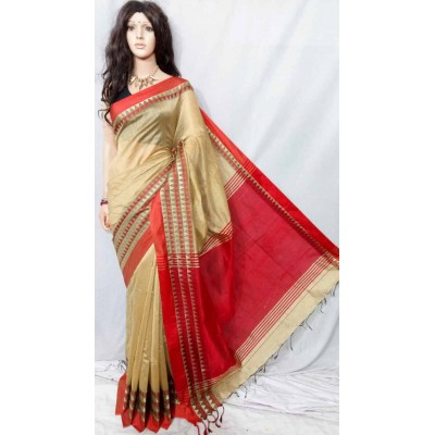 Debajit Beige Cotton Silk Solid Bengal Tant Handloom Saree