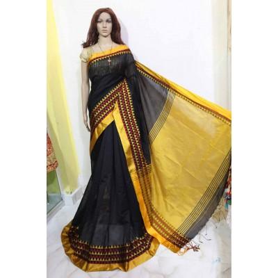 Debajit Black Cotton Silk Solid Bengal Tant Handloom Saree