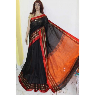 Debajit Black Cotton Silk Solid Bengal Tant Handloom Saree