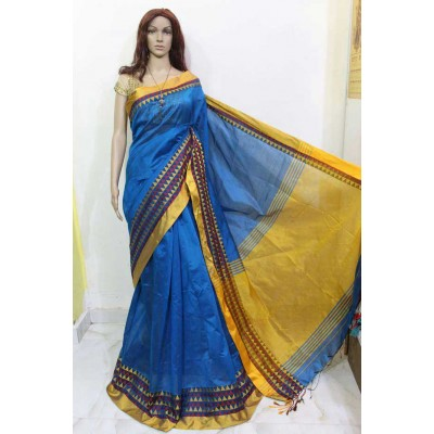 Debajit Blue Cotton Silk Solid Bengal Tant Handloom Saree