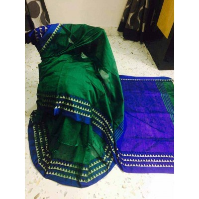 Debajit Dark Green Cotton Silk Solid Bengal Tant Handloom Saree