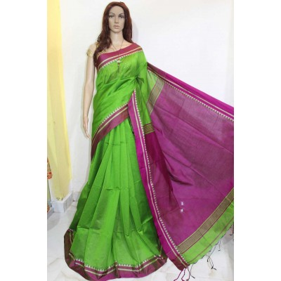 Debajit Green Cotton Silk Solid Bengal Tant Handloom Saree