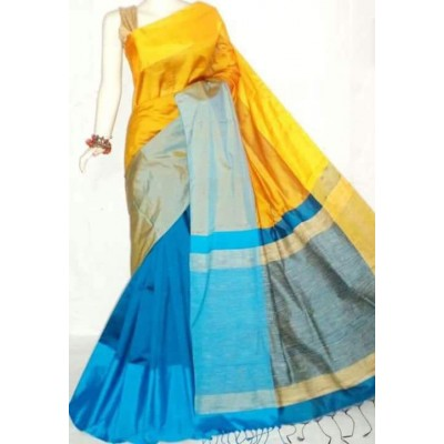 Debajit Yellow and Blue Cotton Silk Ganga-Jamuna bordered Bengal Tant Handloom Saree