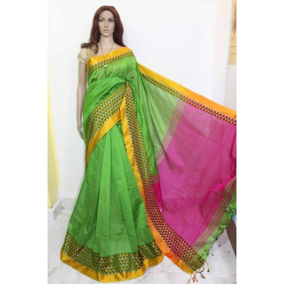 Debajit Light Green Cotton Silk Solid Bengal Tant Handloom Saree