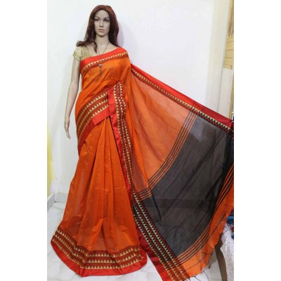 Debajit Orange Cotton Silk Solid Bengal Tant Handloom Saree