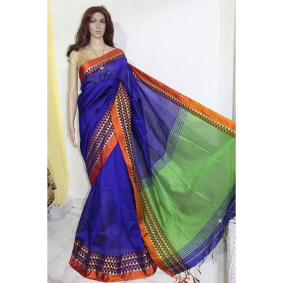 Debajit Royal blue Cotton Silk Solid Bengal Tant Handloom Saree