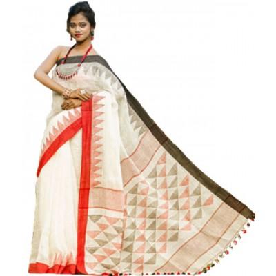 Debajit Off White Linen Tassels Bengal Tant Handloom Saree