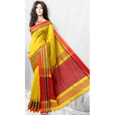 Debajit Yellow Cotton Silk Solid Bengal Tant Handloom Saree