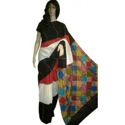 Anuskya Black & White Cotton Applique Worked Saree
