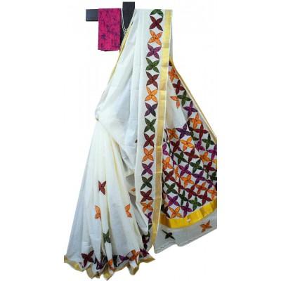 Anuskya Off White Kerala Kasavu Cotton Applique Worked Saree