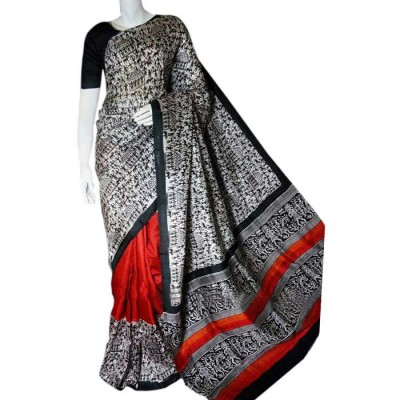 Anuskya Black & White Silk Block Printed Saree