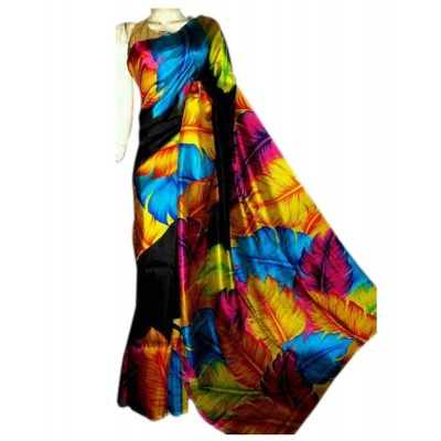 Anuskya Black Silk Printed Saree