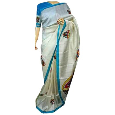 Anuskya White Silk Printed Saree