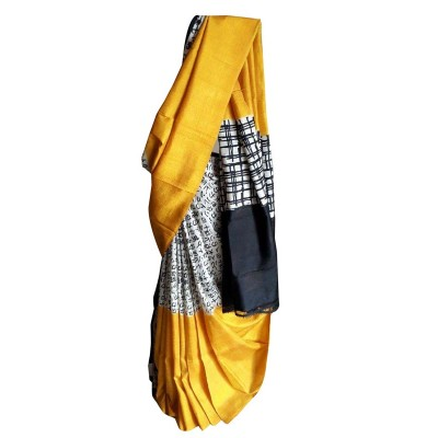 Anuskya Yellow Silk Printed Saree