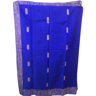 RAMDHANU CREATIONS Royal blue Cotton Silk Gicha Shantipur Handloom Saree