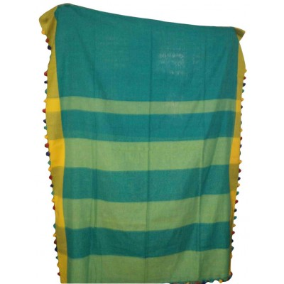 RAMDHANU CREATIONS Green Cotton Pom Pom Khadi Handloom Saree