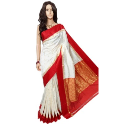 RAMDHANU CREATIONS Off White Cotton Silk Saree