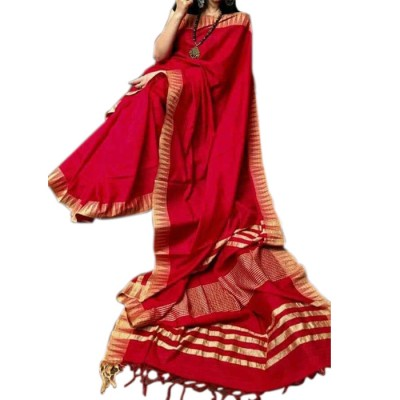 RAMDHANU CREATIONS Red Kota Silk Saree