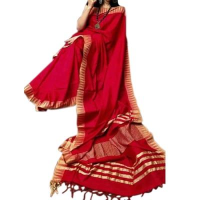 RAMDHANU CREATIONS Red Kota Silk Saree