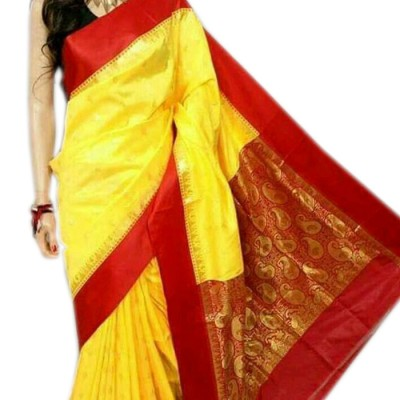 RAMDHANU CREATIONS Yellow Cotton Silk Saree