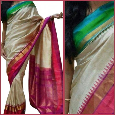Ikkath Weaves White Silk Kaddi Bordered Ikkat Handloom Saree