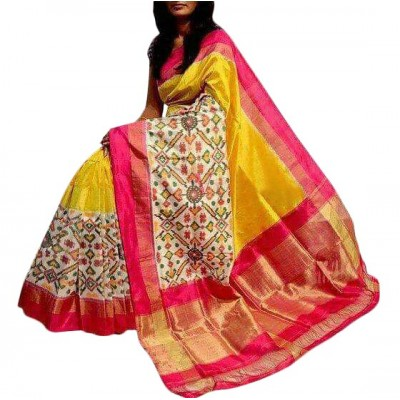 Ikkath Weaves Yellow Silk Pan Patola Ikkat Handloom Saree