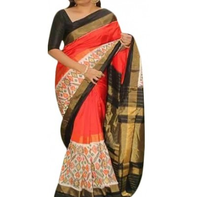Ikkath Weaves Orange Silk Pan Patola Ikkat Handloom Saree