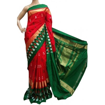 Ikkath Weaves Red Silk Kaddi Bordered Ikkat Handloom Saree