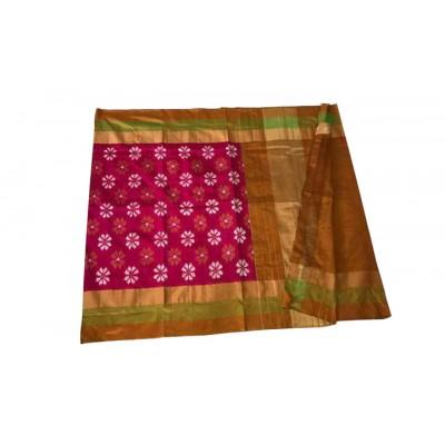 Ikkath Weaves Magenta Silk Floral Printed Ikkat Handloom Saree